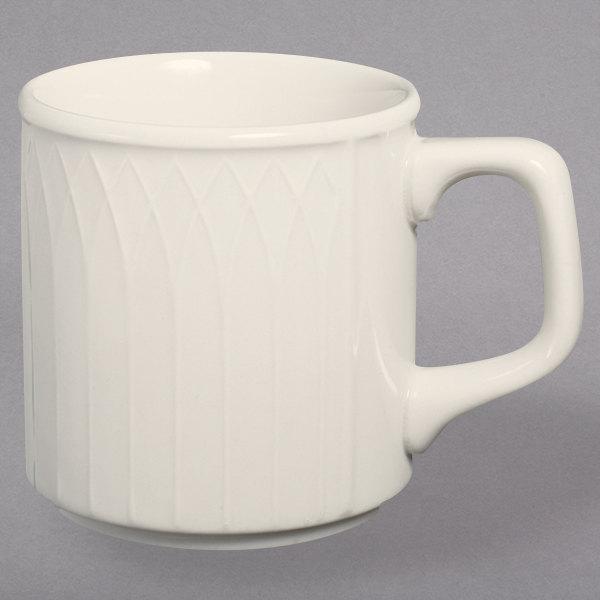 Homer Laughlin 3327000 Gothic 9 oz. Ivory (American White) Stackable China Mug - 36/Case