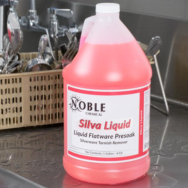 Liquid flatware presoak on a counter