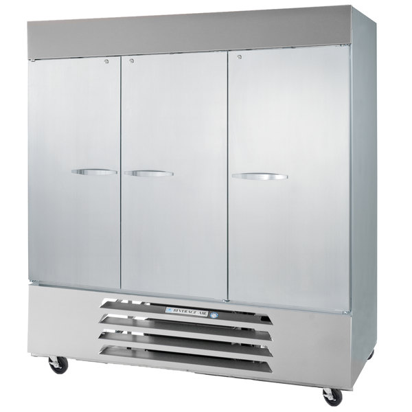 "Beverage Air RB72HC-1S 75"" Vista Series Three Section Solid Door Reach in Refrigerator - 72 Cu. Ft."
