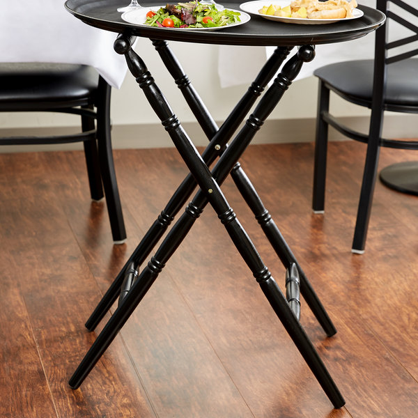 """Lancaster Table & Seating Black 18 1/2"""" x 13 1/2"""" x 32"""" Folding Turned Leg Tray Stand Chic Wood Main Image 4"""