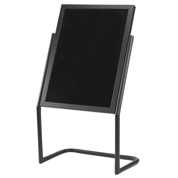 """Aarco P-17BK Black 25"""" x 48"""" Double Pedestal Sign Stand with Markers"""