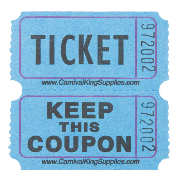 Carnival King Blue 2Part Raffle Tickets 2000Roll – Raffle Ticket