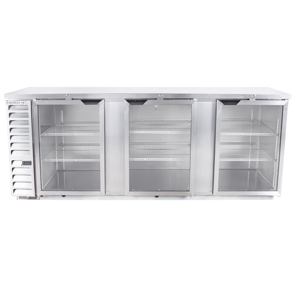 "Beverage-Air BB94HC-1-G-S 94"" Stainless Steel Glass Door Back Bar Refrigerator"