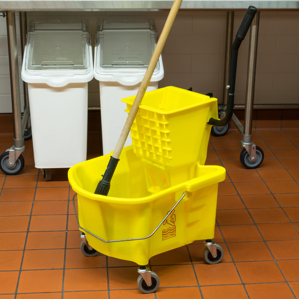 Continental 226-312YW 26 Qt. Yellow Splash Guard Mop Bucket with Side-Press Wringer Main Image 13