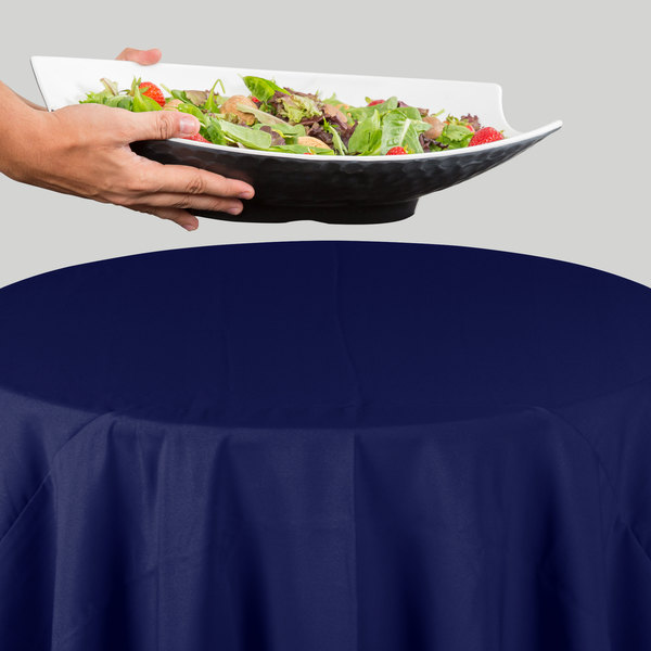 "72"" Round Navy Blue 100% Polyester Hemmed Cloth Table Cover"