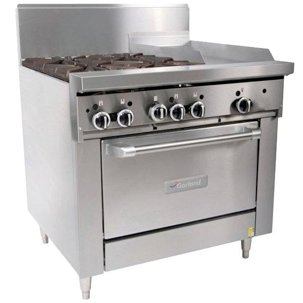 "Garland GF36-4G12R Natural Gas 4 Burner 36"" Range with Flame Failure Protection, 12"" Griddle, and Standard Oven - 160,000 BTU"