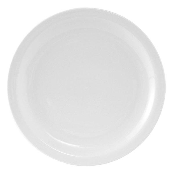 Tuxton CLA-094 Colorado 9 1/2 inch Narrow Rim Rolled Edge Bright White China Plate - 24 / Case