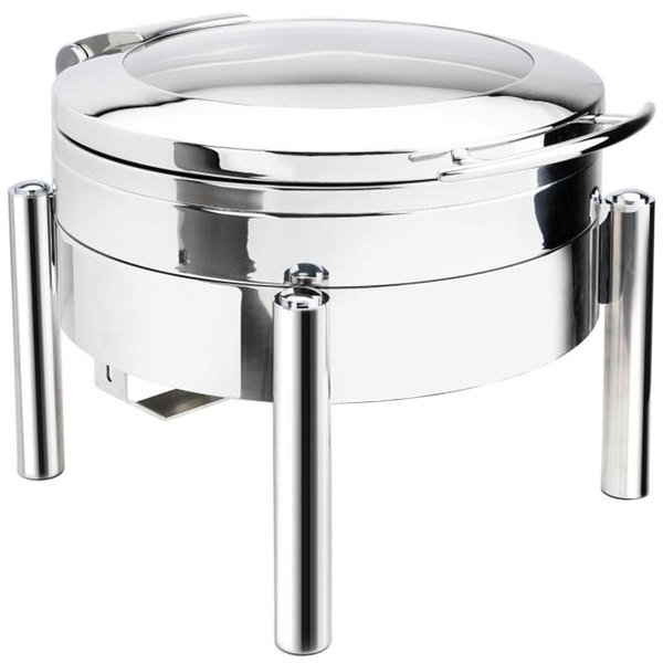 Eastern Tabletop 3978GS Jazz 6 Qt. Stainless Steel Round Induction / Traditional Chafer with Pillar'd Stand and Hinged Glass Dome Cover