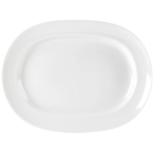 "Homer Laughlin 6506000 Pristine Ameriwhite 13 1/2"" Bright White Oval China Platter - 12/Case"