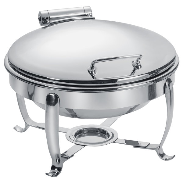 Eastern Tabletop 3918S 6 Qt. Stainless Steel Round Induction / Traditional Chafer with Stand and Hinged Dome Cover