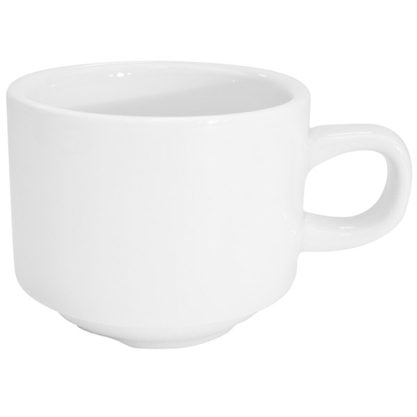 CAC RCN-1-S Super White 8.5 oz. Clinton Rolled Edge Stacking Cup - 36/Case