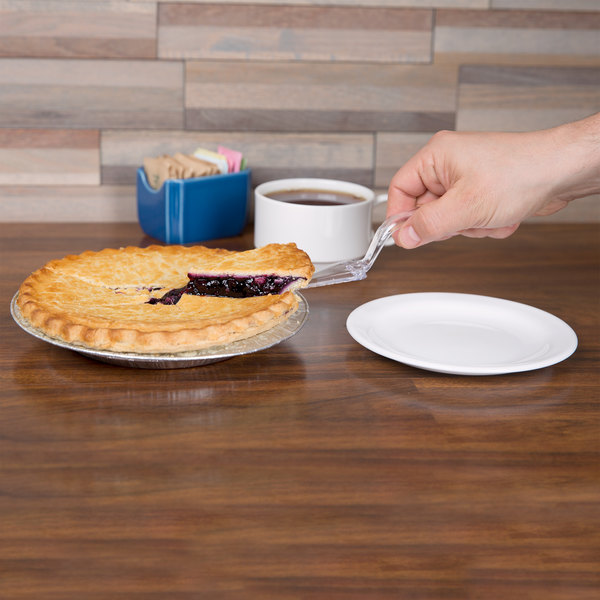 "Visions 10"" Clear Disposable Plastic Pie Server - 6/Pack"