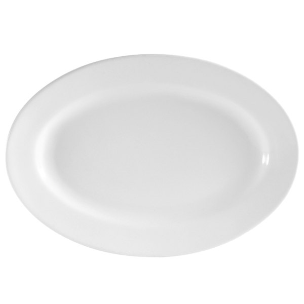 "CAC RCN-14 Super White 13"" x 7 5/8"" Clinton Rolled Edge Serving Platter - 12/Case"