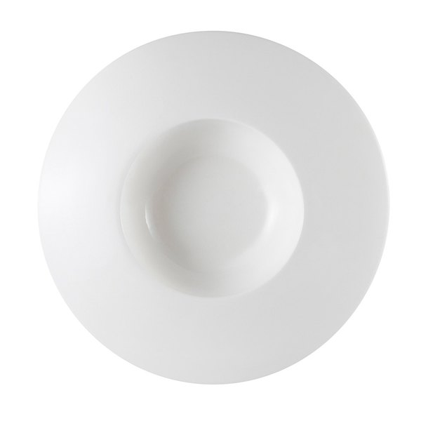 CAC PS-107 Paris French Elite 3.5 oz. Bright White Porcelain Champagne Wide Draping Rim Bowl - 36/Case