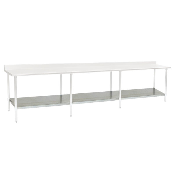 "Eagle Group 30132SADJUS-18/4 Adjustable Stainless Steel Work Table Undershelf for 30"" x 132"" Tables Main Image 1"
