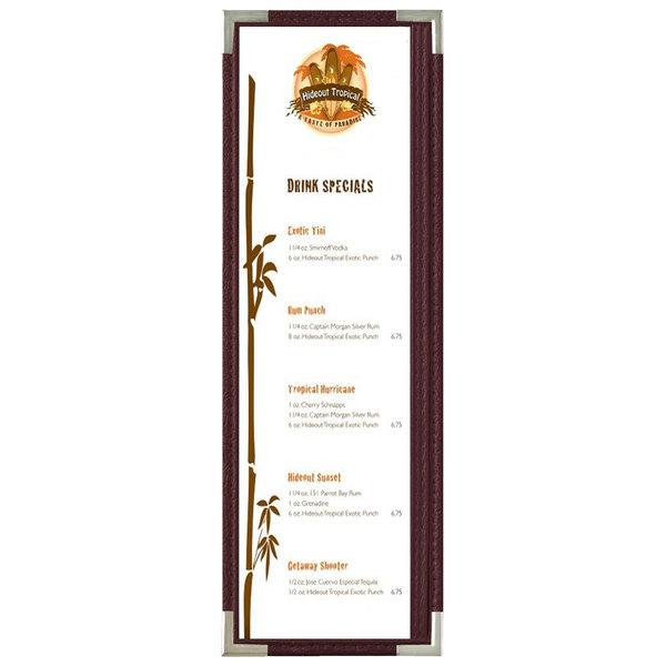 "Menu Solutions RS33BD BUR SLV Royal 4 1/4"" x 14"" Single Panel / Two View Burgundy Menu Board with Silver Corners"