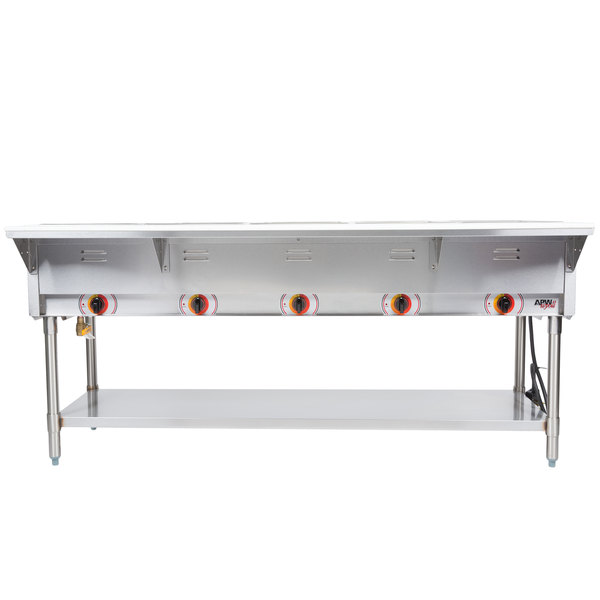 APW Wyott SSTS Stationary Steam Table Five Pan Sealed Well V - Apw wyott steam table