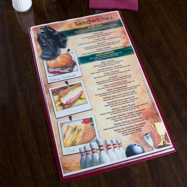 "Menu Solutions H500D CHERRY Hamilton 8 1/2"" x 14"" Single Panel / Two View Cherry Heat Sealed Menu Board"