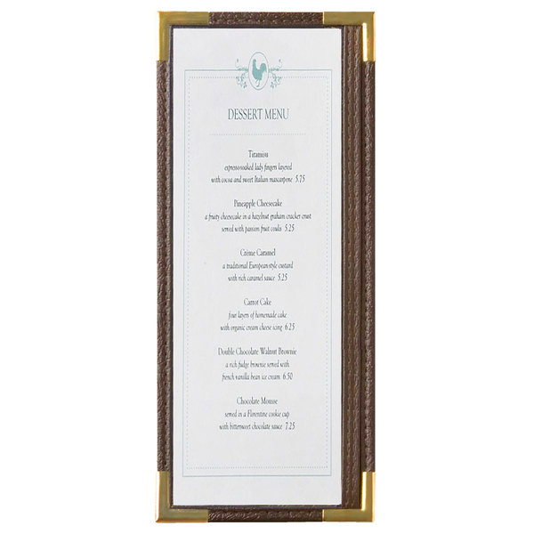 "Menu Solutions RS33BA BRN GLD Royal 4 1/4"" x 11"" Single Panel / Two View Brown Menu Board with Gold Corners"