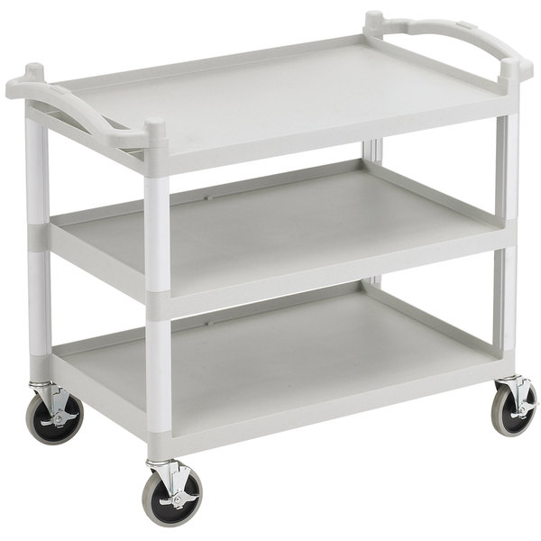 "Cambro BC340KDLP Speckled Gray Low Profile Utility Cart (Unassembled) - 40"" x 22"" x 33 1/4"" Main Image 1"
