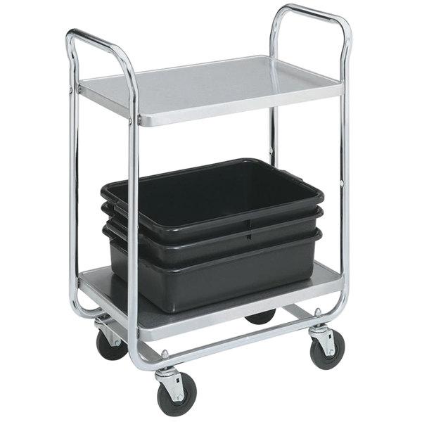 "Vollrath 97160 Thrift-I-Cart Chrome 2 Shelf Cart - 24"" x 16"" x 36 1/2"" Main Image 1"