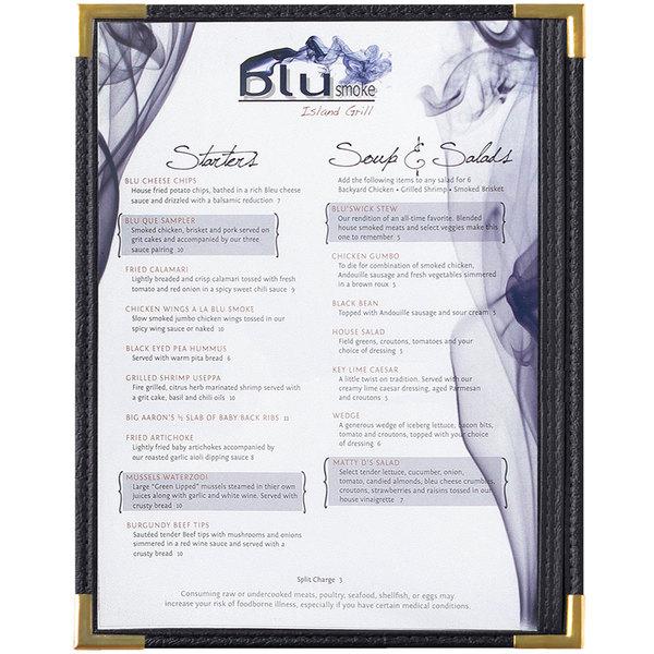 "Menu Solutions RS33C BK GLD Royal 8 1/2"" x 11"" Single Panel / Two View Black Menu Board with Gold Corners"