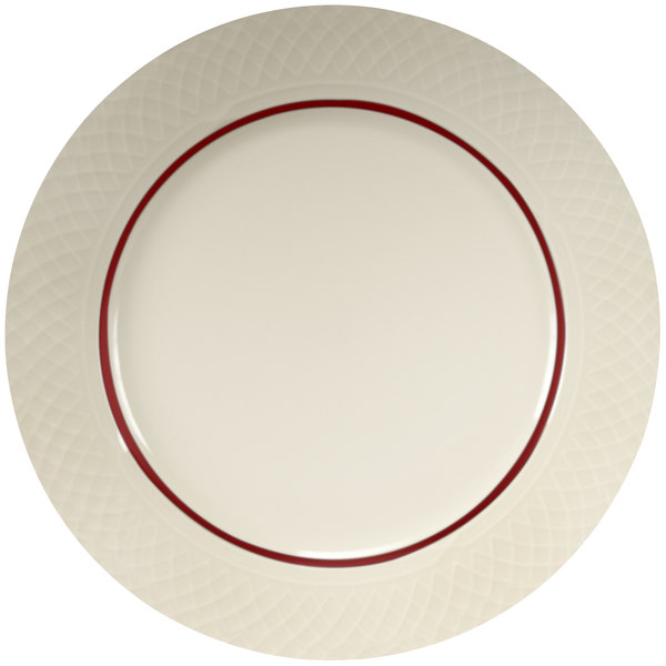 "Homer Laughlin Gothic Maroon Jade 10 5/8"" Off White China Plate - 12/Case"