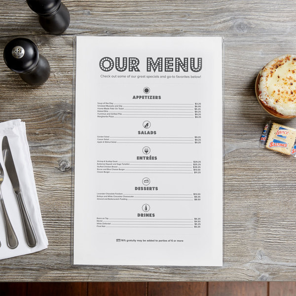 """Menu Solutions CHS100G 11"""" x 17"""" Single Panel / Two View Clear Heat Sealed Menu Cover"""