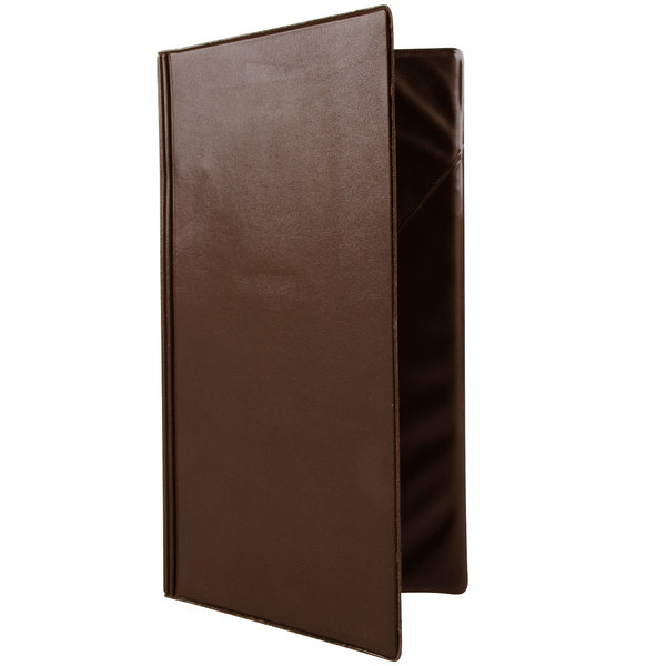 """Menu Solutions HS873 5"""" x 9"""" Two-Tone Brown Guest Check Presenter"""