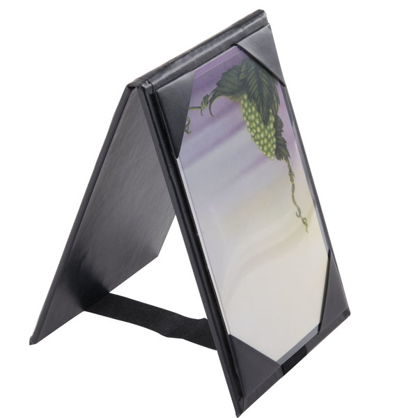 "Menu Solutions TT067A BLK 4"" x 6"" A-Frame / Two View Black Table Tent with Picture Corners"