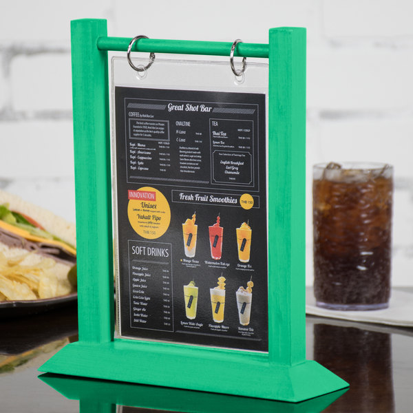 Menu Solutions WFTSB X Teal Wood Flip Top Table Tent - Flip top table tent