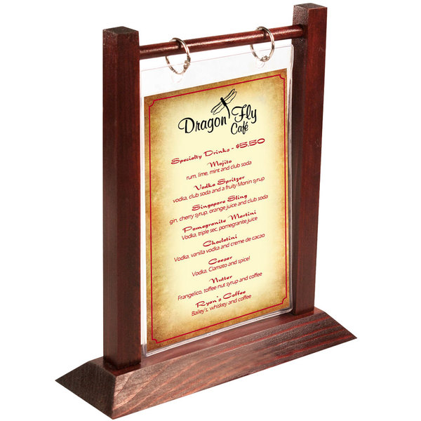 Menu Solutions WFT4S-B 5  x 7  Mahogany Wood Flip Top Table Tent - 2/Pack  sc 1 st  WebstaurantStore & Solutions WFT4S-B 5