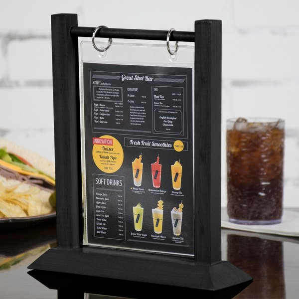 Menu Solutions WFTSB X Black Wood Flip Top Table Tent Pack - Flip top table tent