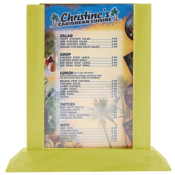 """Menu Solutions WPF4S-A 4"""" x 6"""" Lime Wood Table Tent"""