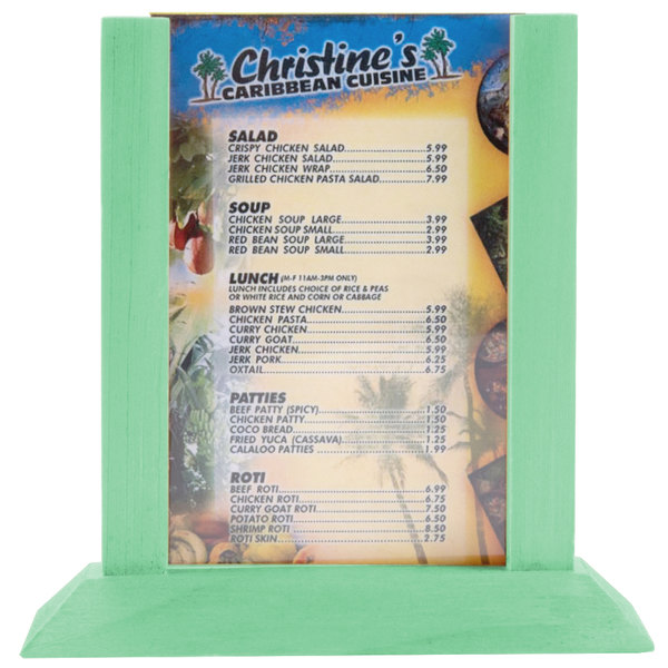 """Menu Solutions WPF4S-A 4"""" x 6"""" Teal Wood Table Tent"""