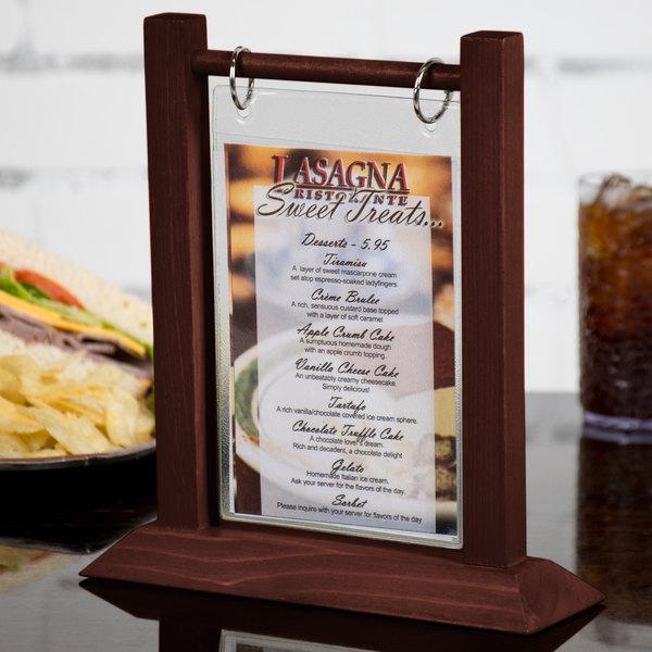 menu solutions wft4s a 4 x 6 mahogany wood flip top table tent 2