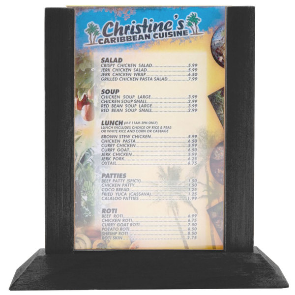 menu solutions wpf4s b 5 x 7 black wood table tent 2 pack