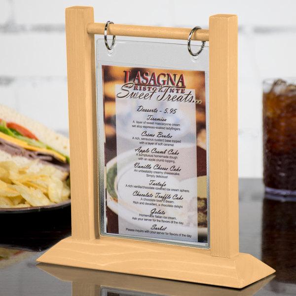 menu solutions wft4s a 4 x 6 natural wood flip top table tent