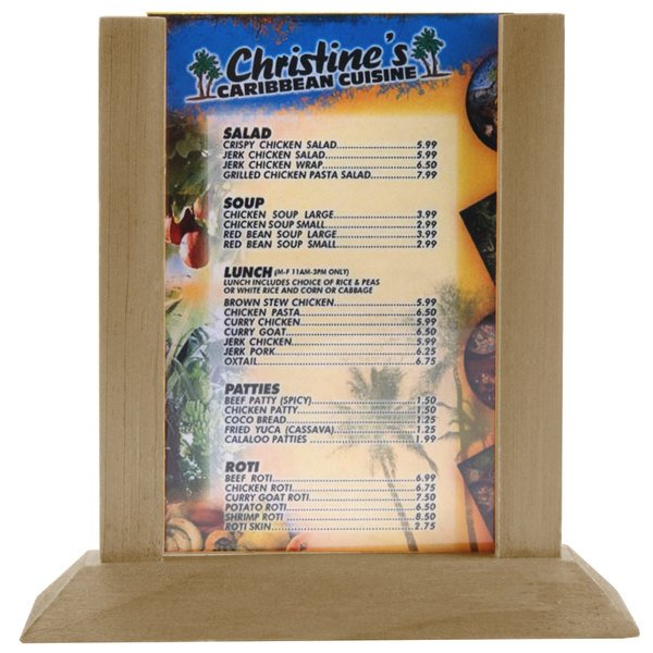Menu Solutions WPF4S-B 5  x 7  Antiqued Wood Table Tent  sc 1 st  WebstaurantStore & Solutions WPF4S-B 5