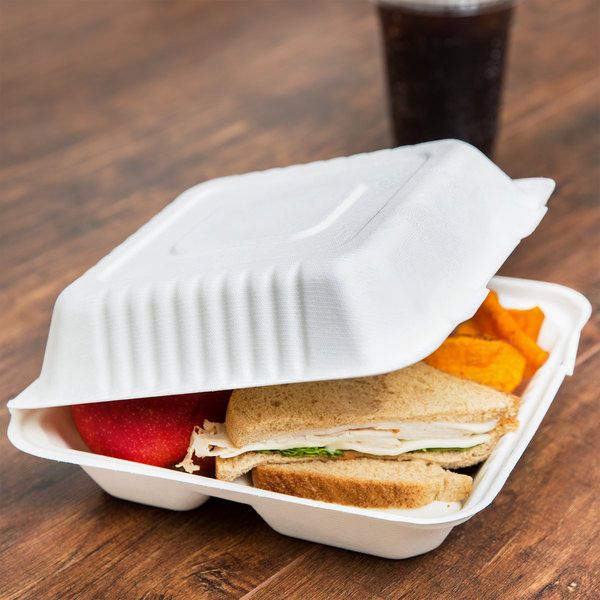 "EcoChoice 8"" x 8"" x 3"" Biodegradable, Compostable Sugarcane / Bagasse 3 Compartment Takeout Box - 200/Case"