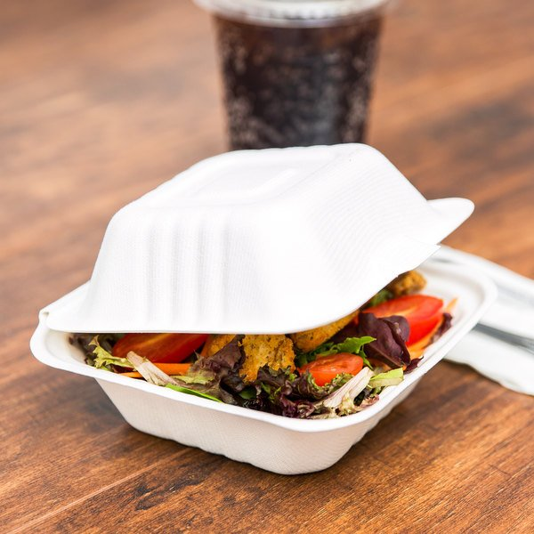 "EcoChoice Biodegradable, Compostable Sugarcane / Bagasse 5"" x 5"" x 3"" Take-Out Container - 500/Case"