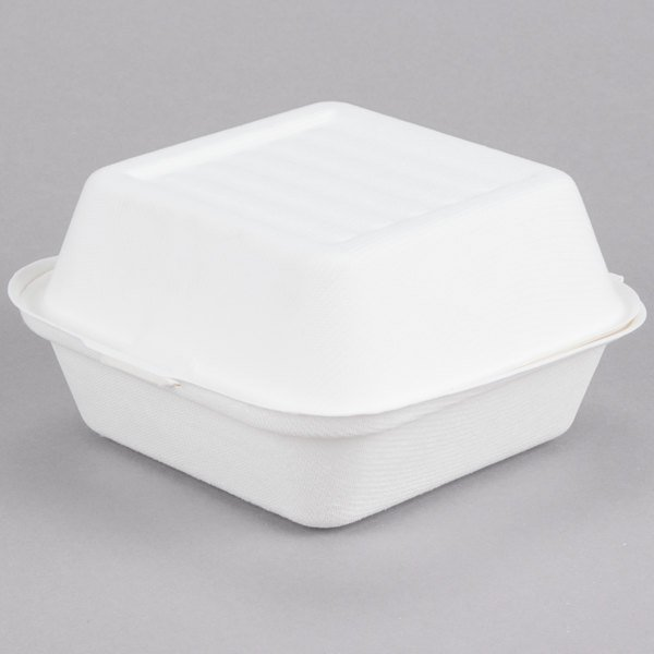 EcoChoice Biodegradable, Compostable Sugarcane / Bagasse 6 inch x 6 inch x 3 inch Take-Out Container - 500/Case