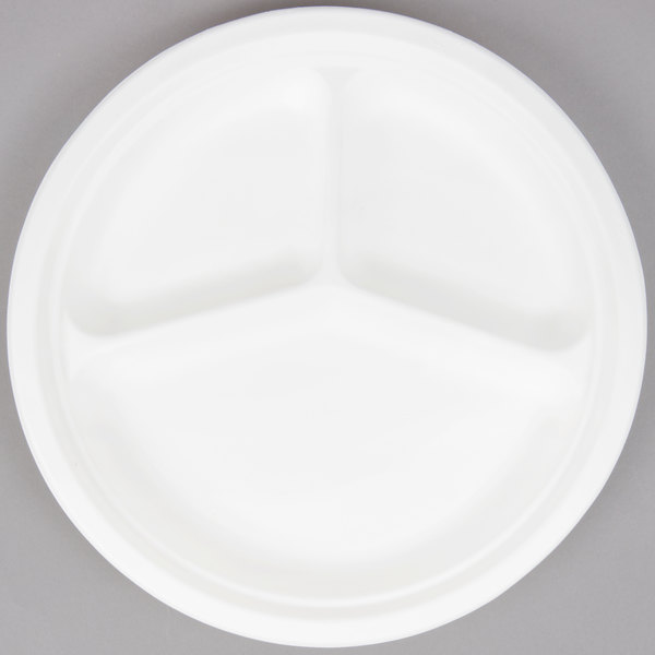 EcoChoice Biodegradable, Compostable Sugarcane / Bagasse 10 inch Plate 3 Compartment  - 500/Case