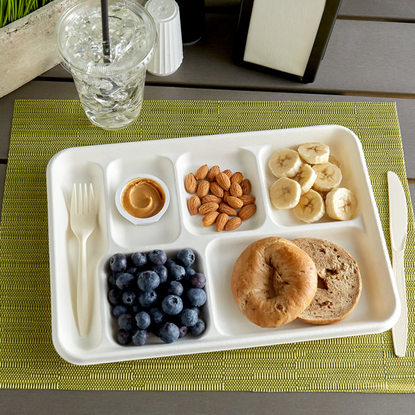 "EcoChoice 8 1/2"" x 12 1/2"" Biodegradable, Compostable Sugarcane / Bagasse 6 Compartment Tray - 400/Case"
