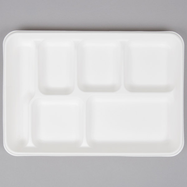 EcoChoice 8 inch x 10 inch Biodegradable, Compostable Sugarcane / Bagasse 6 Compartment Tray - 400/Case