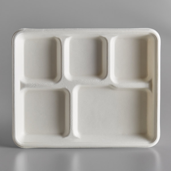 EcoChoice 8 inch x 10 inch Biodegradable, Compostable Sugarcane / Bagasse 5 Compartment Tray - 400/Case