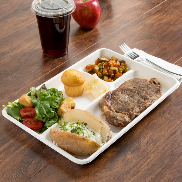 "EcoChoice 8 1/2"" x 12"" Biodegradable, Compostable Sugarcane / Bagasse 5 Compartment Long Tray - 300/Case"