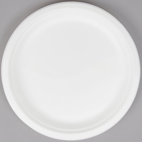 ... without the environmental impact of plastic or foam look no further than the EcoChoice biodegradable compostable sugarcane / bagasse 10  plate. & EcoChoice Biodegradable Compostable Sugarcane / Bagasse 10