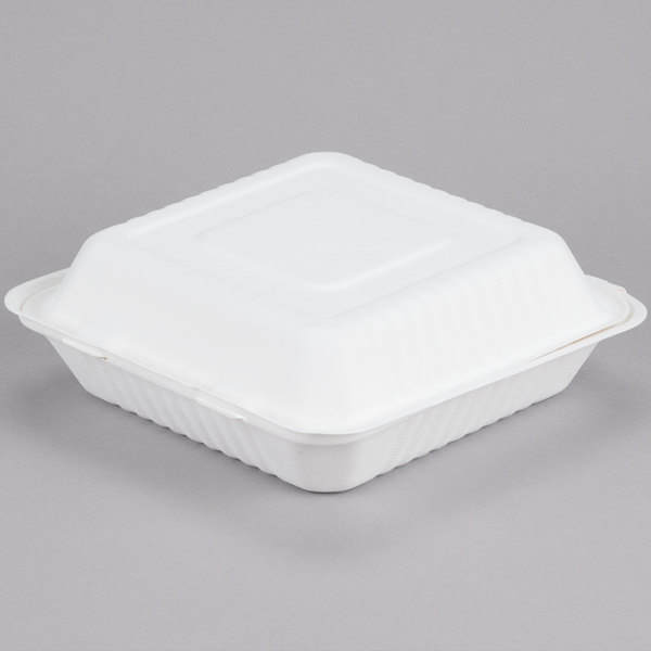 EcoChoice 9 inch x 9 inch x 3 inch Biodegradable, Compostable Sugarcane / Bagasse 1 Compartment Takeout Box - 200 / Case