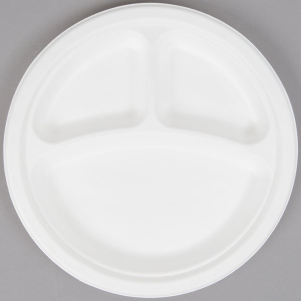 EcoChoice Biodegradable, Compostable Sugarcane / Bagasse 9 inch Plate 3 Compartment - 125/Pack